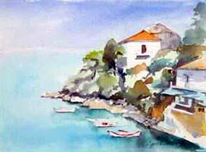 Kioni, Ithaca, Greece 3 Watercolour